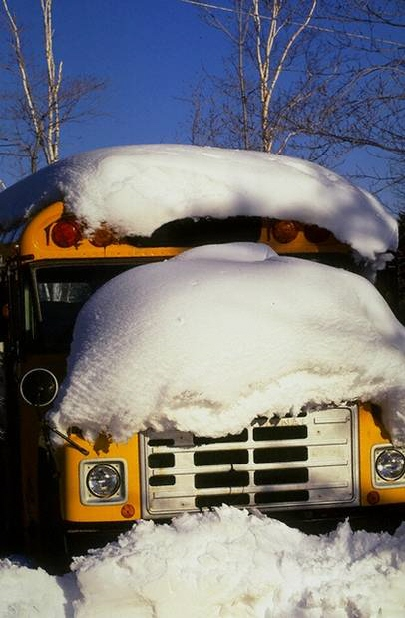 bus covered with snow